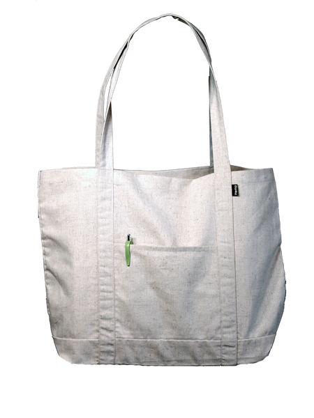 "Our ""Grocer"" Hemp Bag has a 1-piece wrap-around handle that adds strength and durability for holding heavy items, plus a pocket on the outside. Made from 100% recycled material (35% hemp, 35% cotton, 30% polyester)."