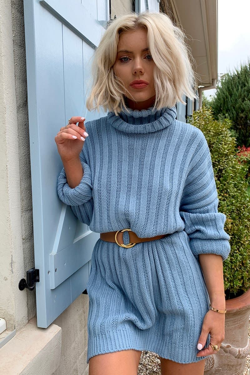 LAURA JADE DUSTY BLUE OVERSIZED CHUNKY KNITTED JUMPER DRESS WITH SIDE SPLITS #chunkyknitjumper