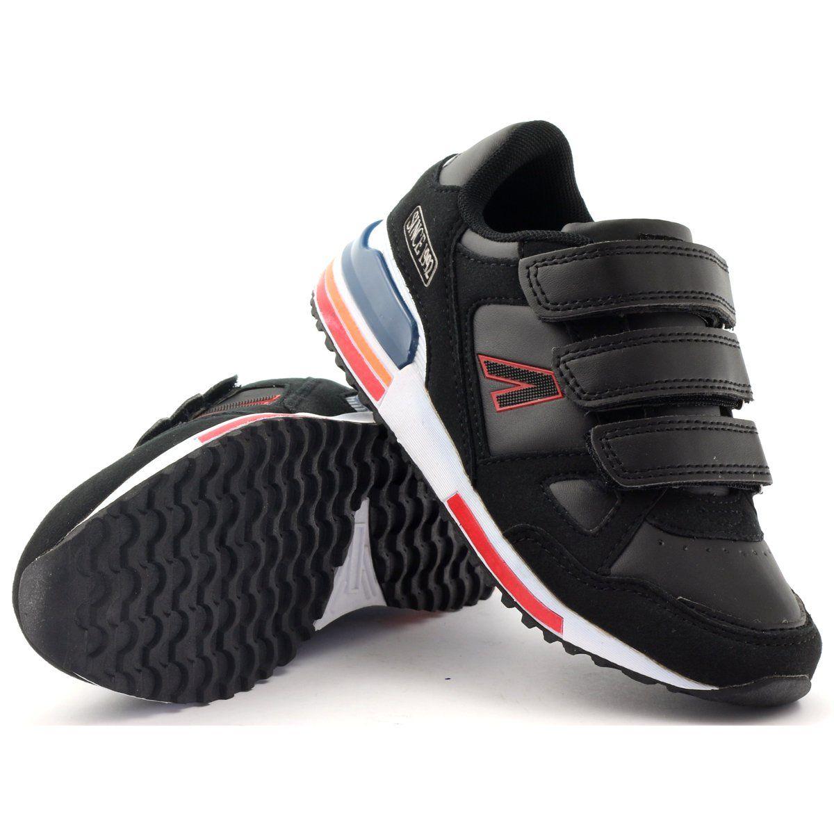 American Club Buty Sportowe Na Rzepy American 4594 Czarne Czerwone Biale Fisherman Sandal Shoes Dc Sneaker