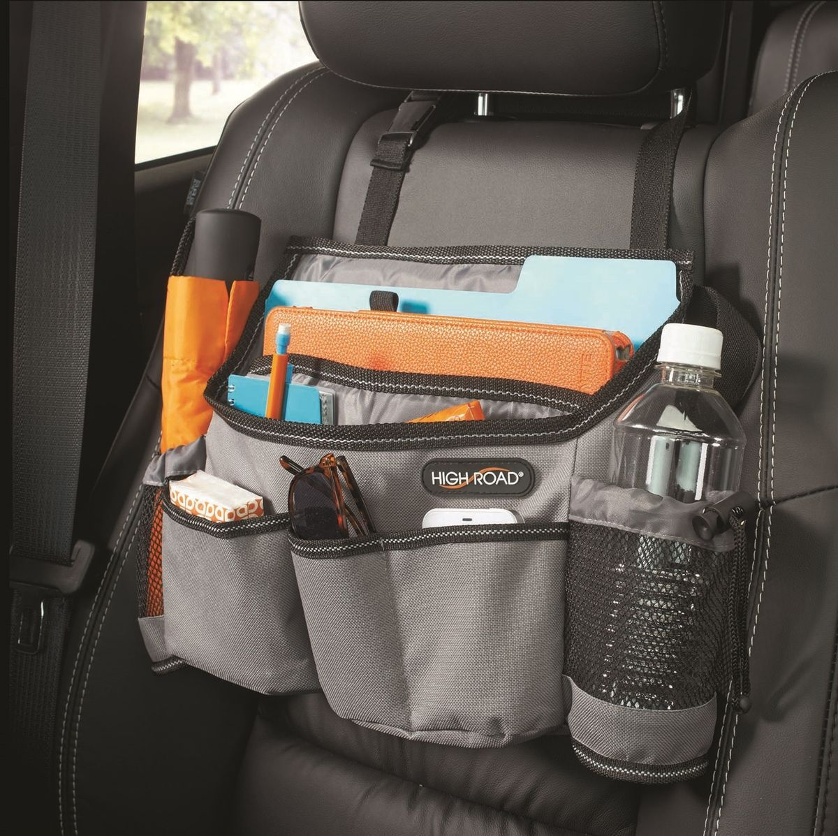 High Road Gray SwingAway Car Seat Organizer Front Over The