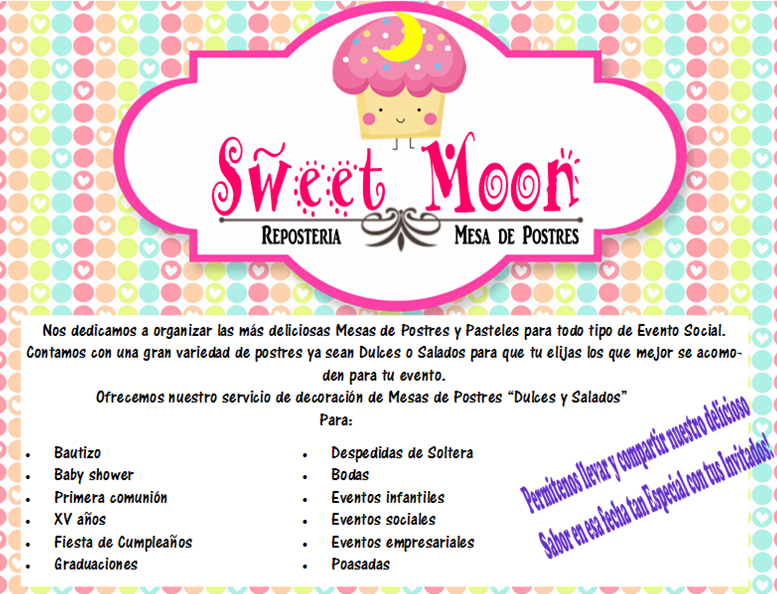 Información sobre nosotros :D! Para más información checa nuestra pagina de facebook, o por e-mail al SweetMoon_Cln@hotmail.com <3