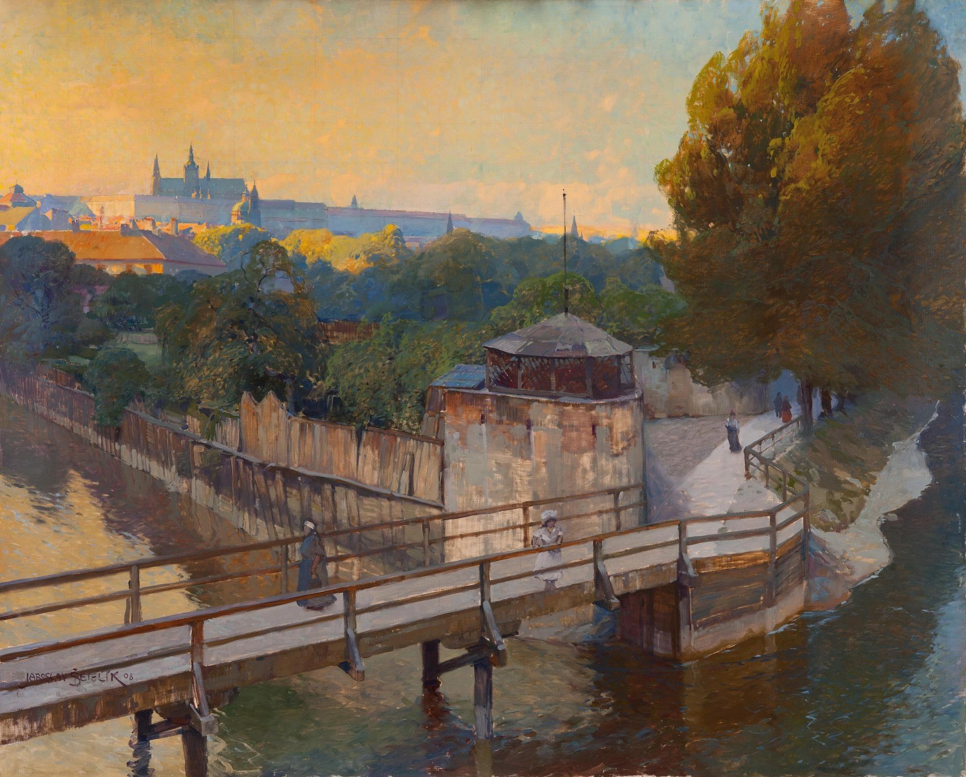 JAROSLAV ŠETELÍK (1881-1955)  Most přes Čertovku, oil on canvas, GHMP, 1908