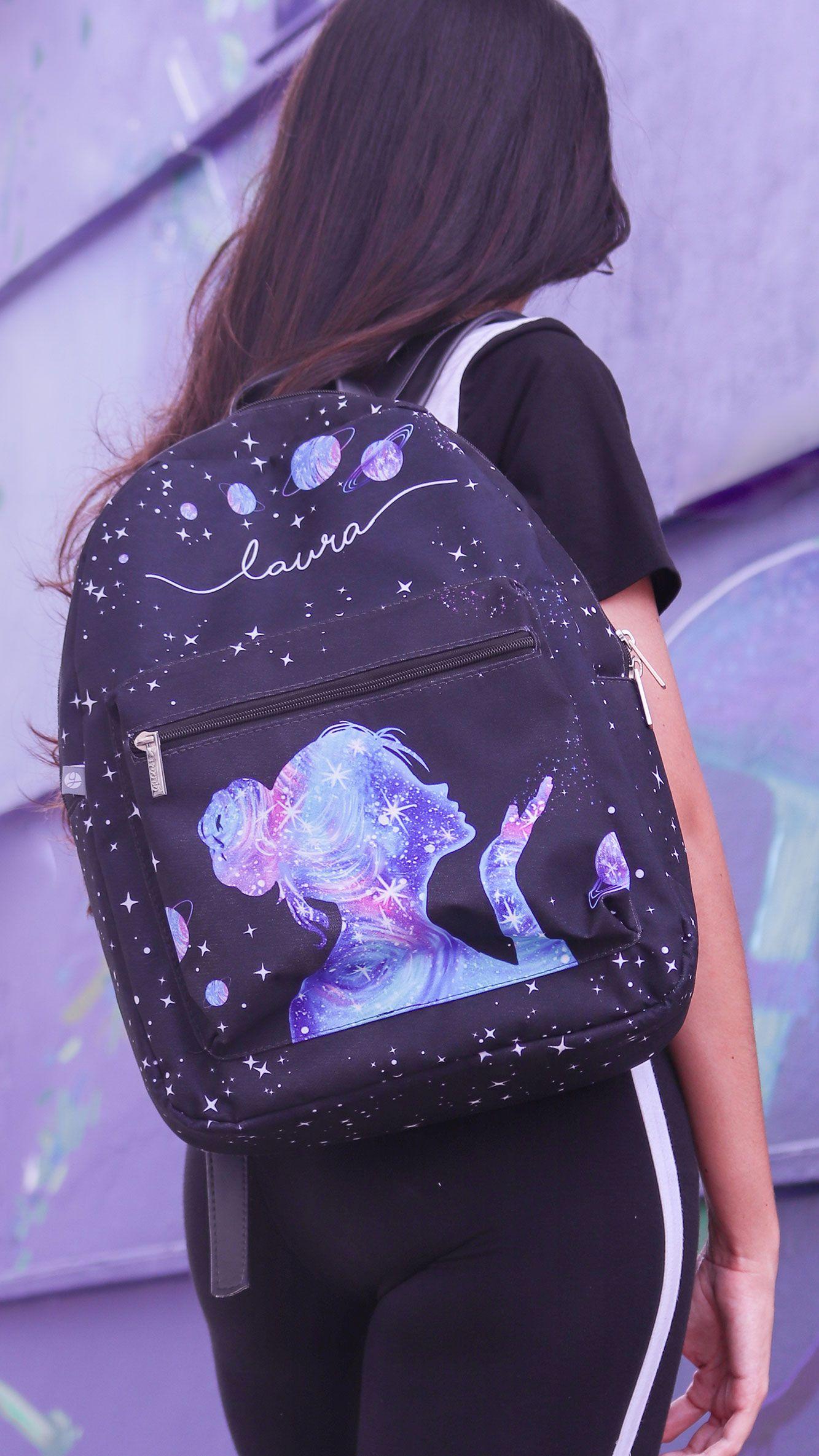 dd8bf8604 Mochila Gocase Bag - Poeira das Estrelas Manuscrita, universo, menina,  roxo, laura