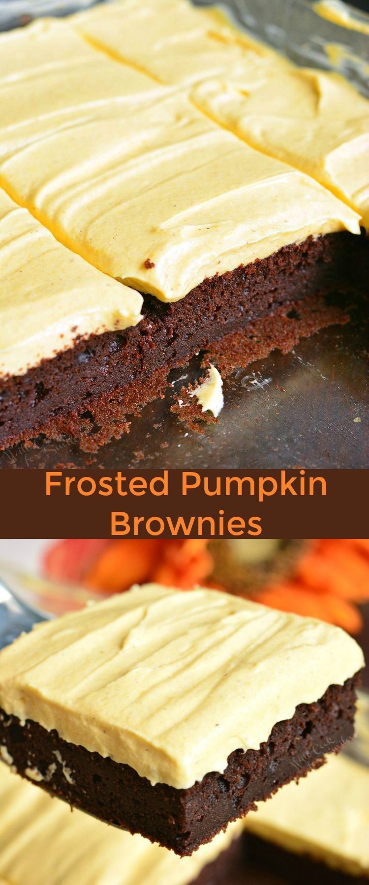 Frosted Pumpkin Brownies. These rich, soft and moist dark chocolate pumpkin brownies are topped with smooth, creamy pumpkin cream cheese frosting. Perfect easy fall dessert. #brownies #chocolate #pumpkin #frosted #homemade #frosting #creamcheesefrosting #dessert #pumpkindesserts