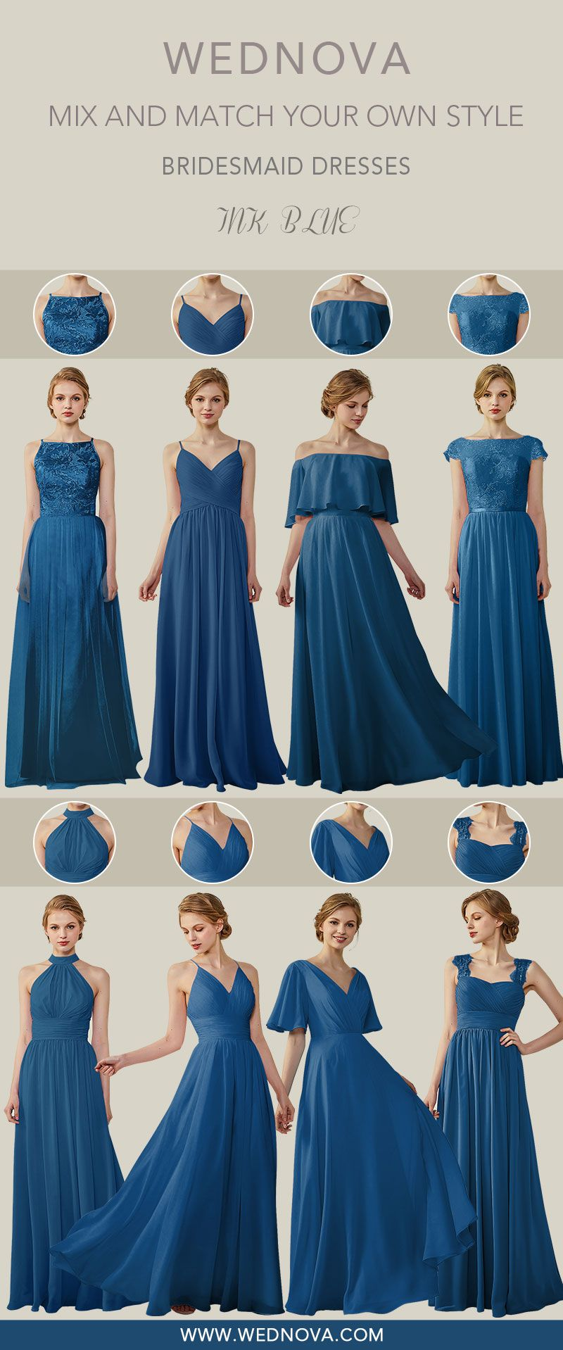 New color bridesmaid dresses long chiffon dress ink blue all styles