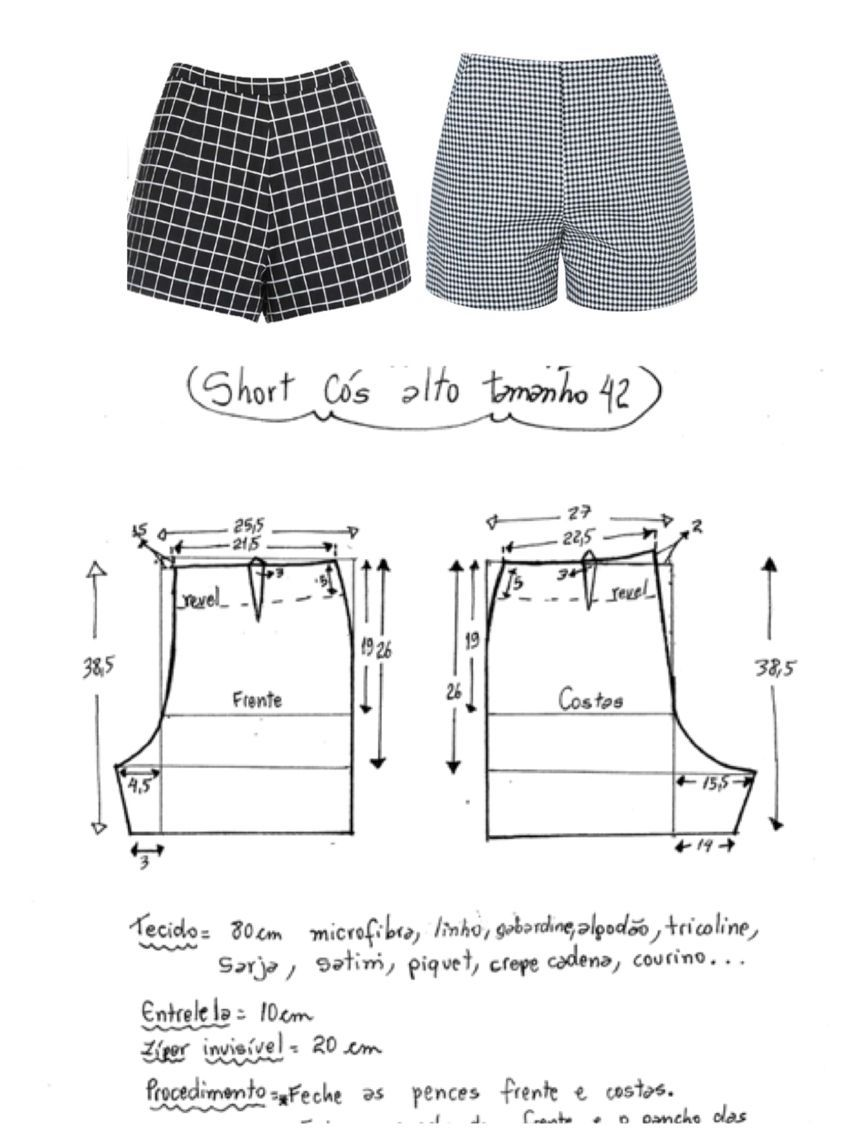 Calções | Sewing for Adults & Home & Fashion tips | Pinterest ...