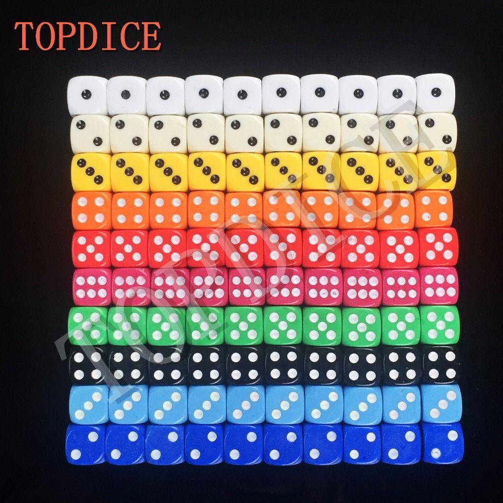 14mm NS Poker Chips dobbelstenen voor Gambling Game Dice & Blauw, Groen, Geel, Zwart, Oranje kleurrijke kleuren Relatiegeschenken RPG DOBBELSTENEN SET