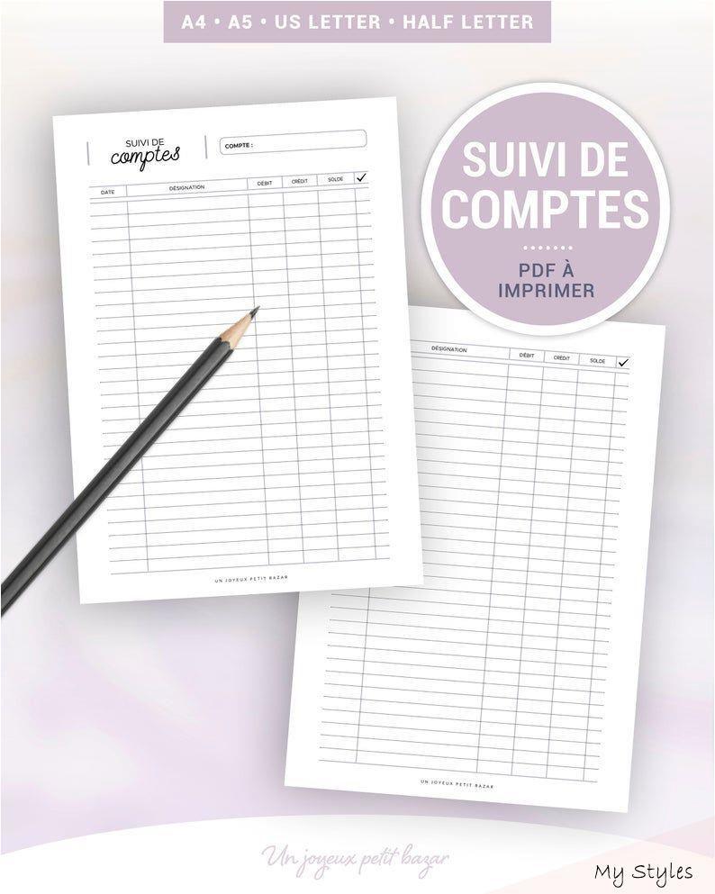 Monitoring of accounts to print for budget and accounting management, insert in French for planner A5 and A4 #Budgeting #spreadsheet