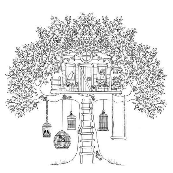 Tree House Colouring Pages Google Search Utskrivbara Farglaggningssidor Malarbocker Malarbok