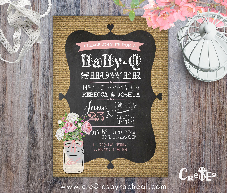 BABY-Q SHOWER BURLAP MASON JAR INVITATION PRINTABLE