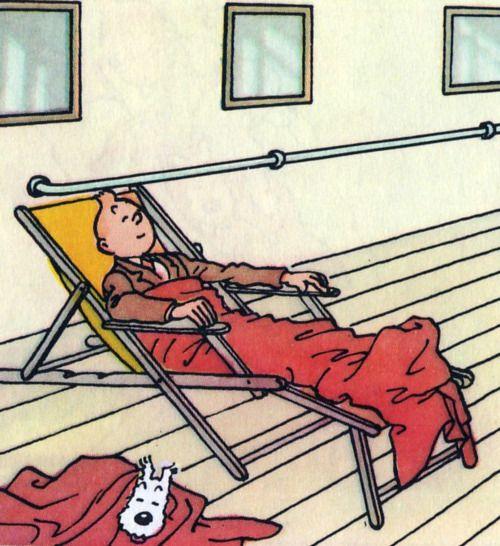 tintin and snowy sleeping on a ship's deck • Tintin, Herge j'aime