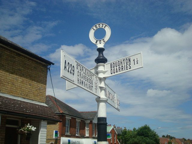 Road sign, Loose by Stacey Harris, via Geograph
