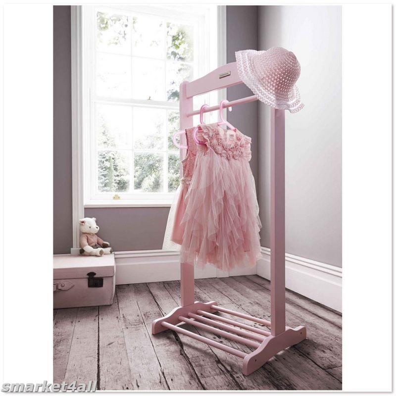 Girls Free Standing Hanging Rail Shoe Rack Garment Holder Chirdrens Bedroom Pink