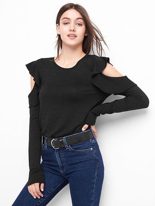 f55f693198d34 Gap Womens Softspun Flutter Cold Shoulder Top Black
