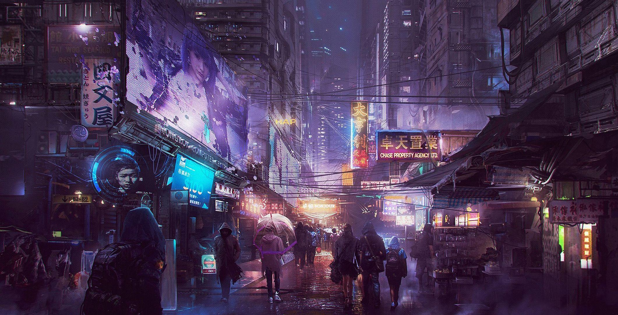 Cyberpunk Busy Street Hdwallpaper wallpaper image Hd