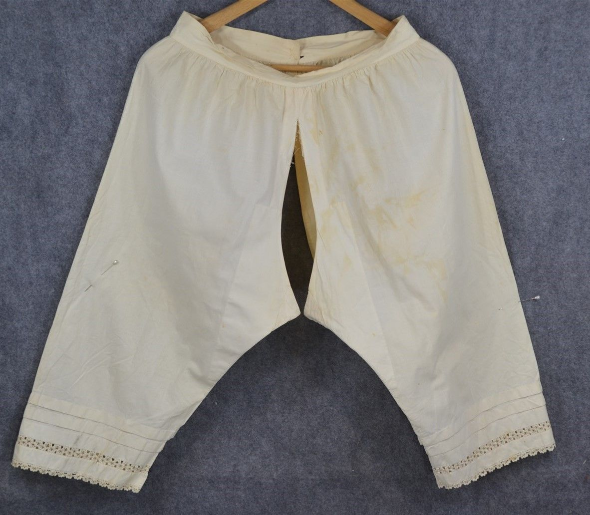 5e6169f0bf2 bloomers pantalets cotton lace split drawers small Civil War Era antique  1800 in Clothing