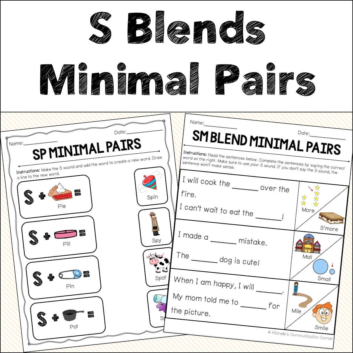 S Blends Minimal Pairs Worksheets In