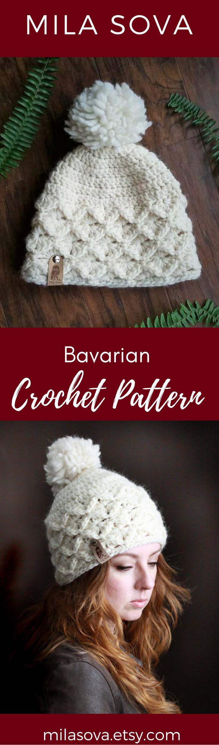 Nº170 Chunky Bavarian Beanie - Crochet PATTERN | Bavarian crochet ...