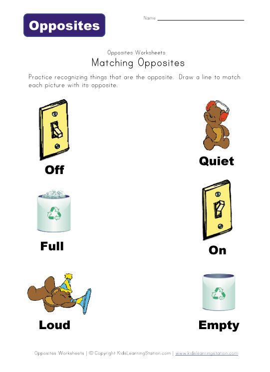 Matching Opposites Worksheet Free Printables Kids