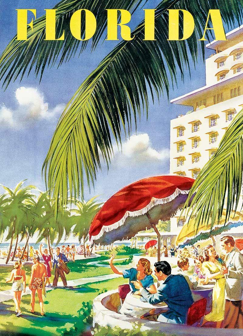 Florida Sunshine State Beach Palm Vintage Airline Travel Art Poster Print