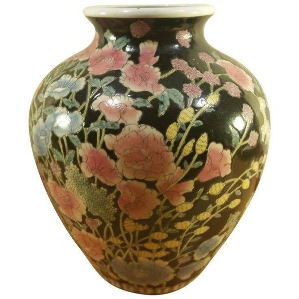 Black Asian Handpainted Vase (1 355 UAH) ❤ liked on Polyvore featuring home, home decor, vases, black urns, oriental vases, asian urn, black home decor and floral vases