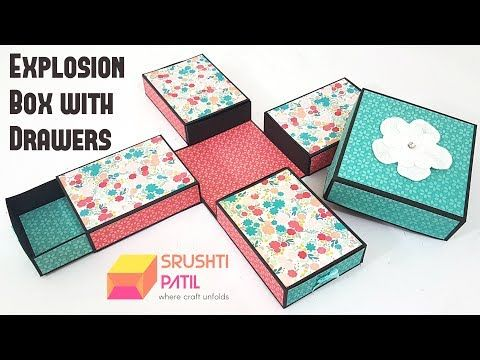 Explosion Box With Drawers Storage Explosion Box Tutorial By Srushti Patil Youtube Explosion Box Tutorial Explosion Box Exploding Box Card