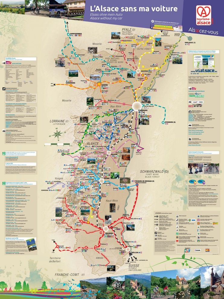 Alsace tourist map without car Maps Pinterest Tourist map