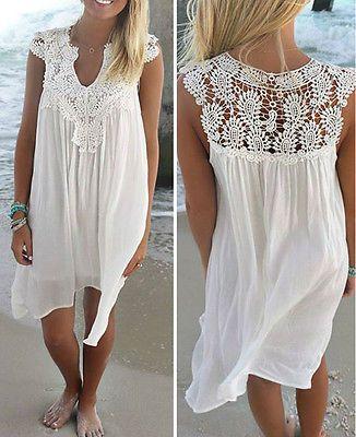 Women Summer Loose Short Sleeve Beach Mini Dress Casual Loose Sundress Plus Size