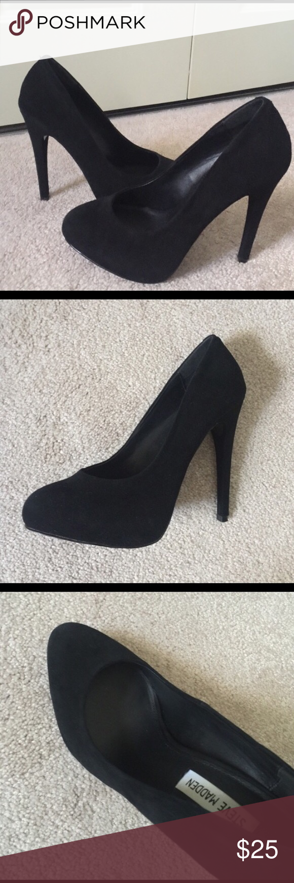 Black Suede Heels Black Steve Madden Suede Heels. Round toe. Great Condition! Steve Madden Shoes Heels