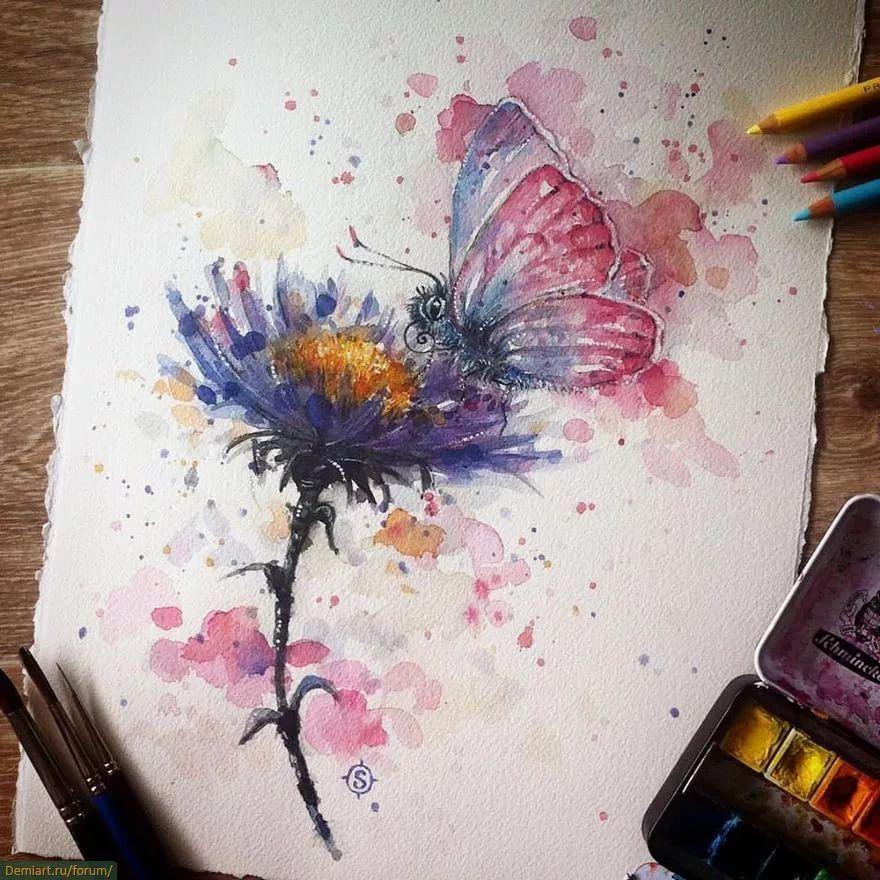 красивые картинки акварель карандашом себя