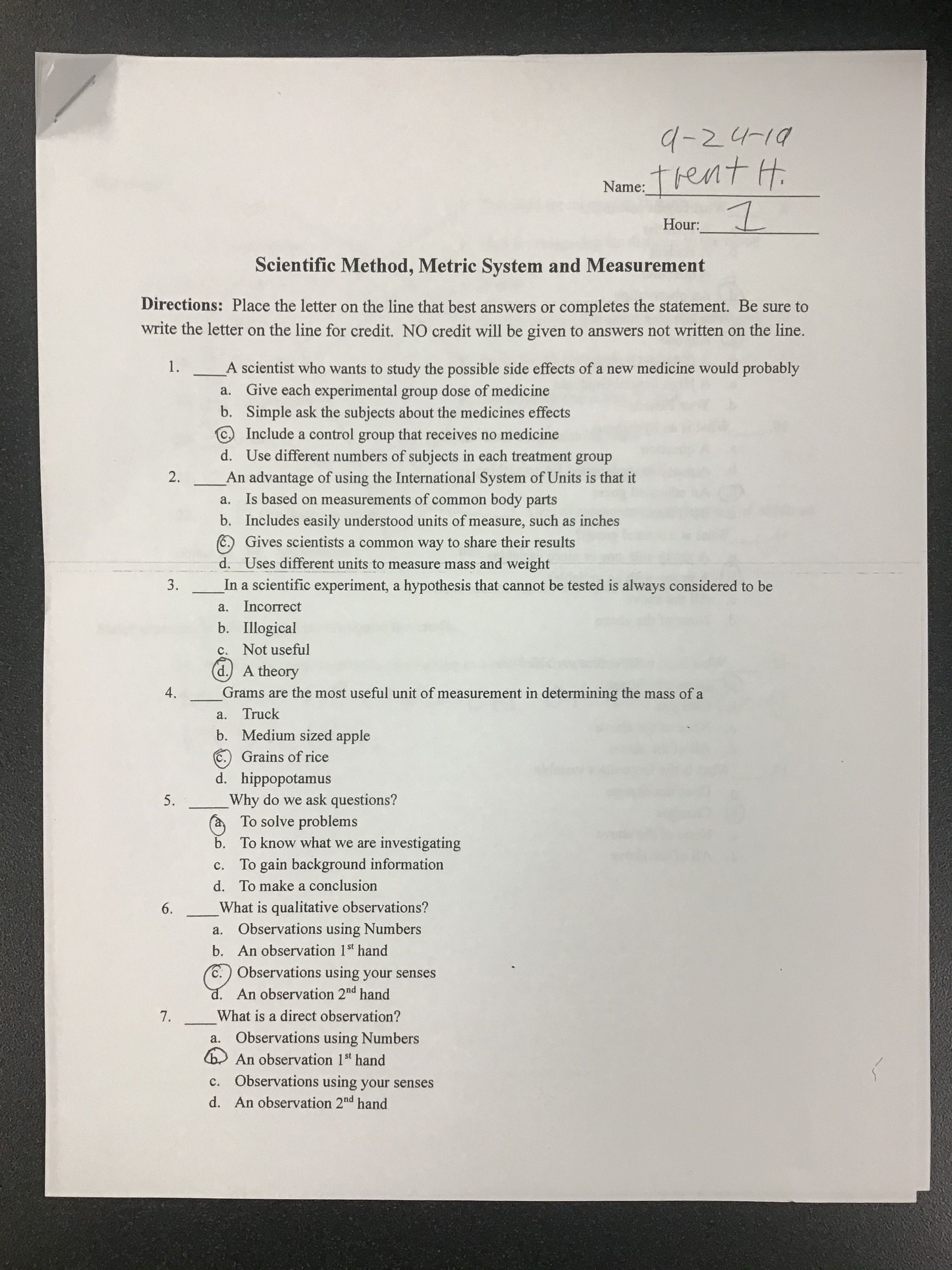 Scientific Method Metric System Amp Measurement Worksheet