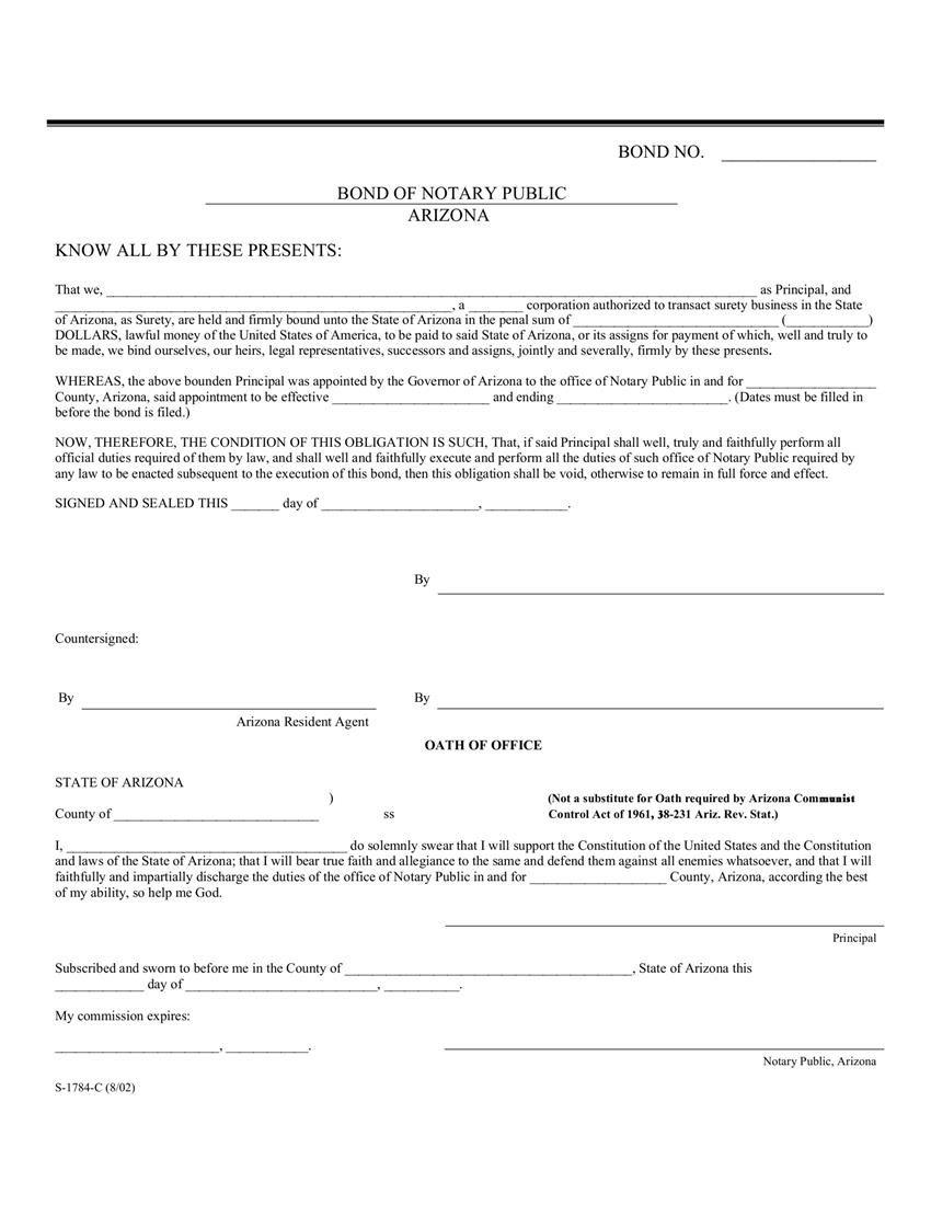 Arizona Notary Bond Bond Fifty States Notary