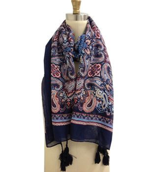 Navy Multi Color Paisley Scarf