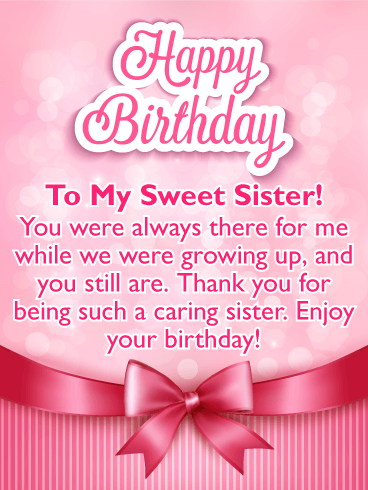 To My Sweet Sister Pink Ribbon Happy Birthday Card Sisters Can Be