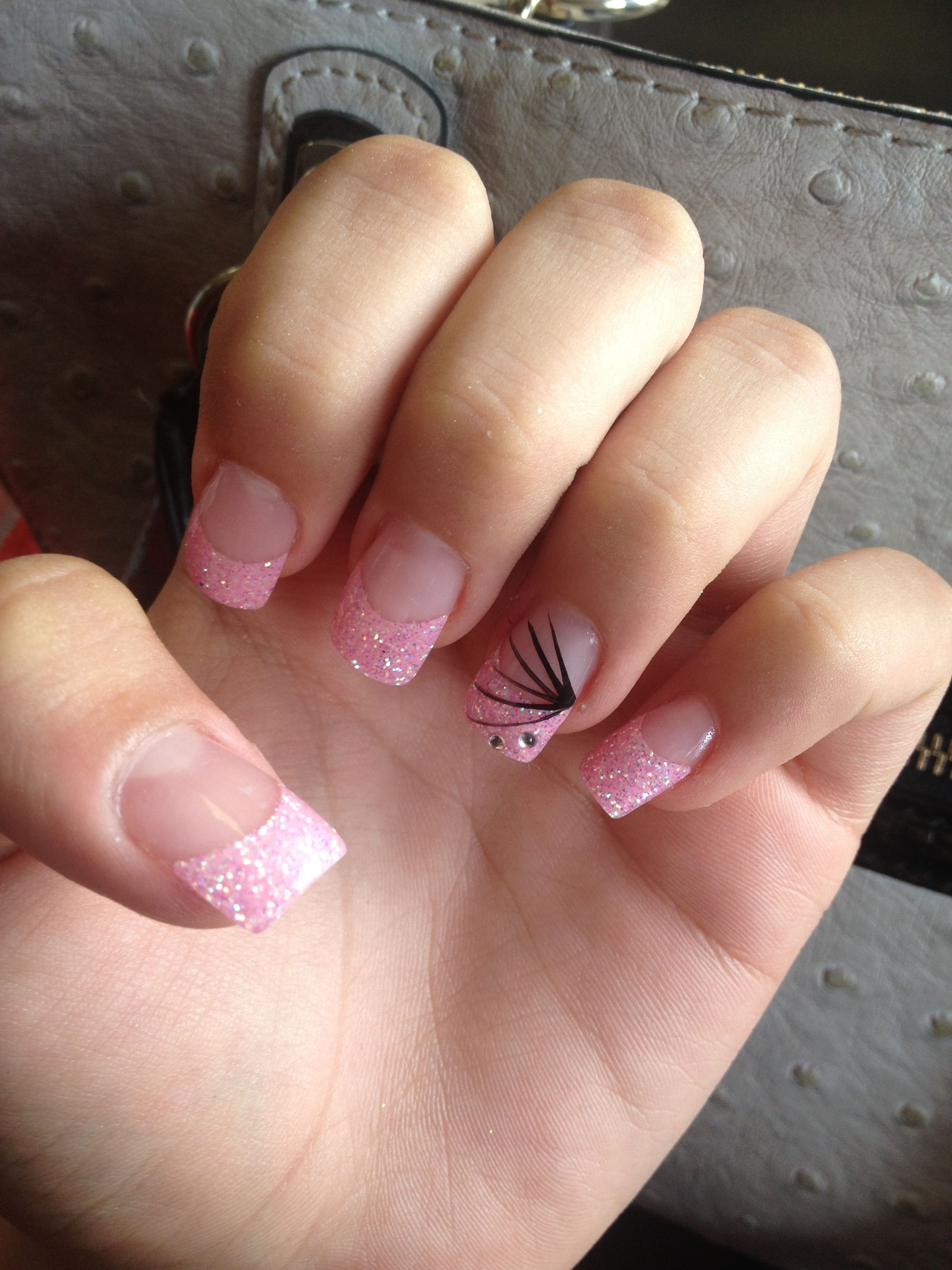 acrylic nails !! Pink and sparkly with a design and rhinestones