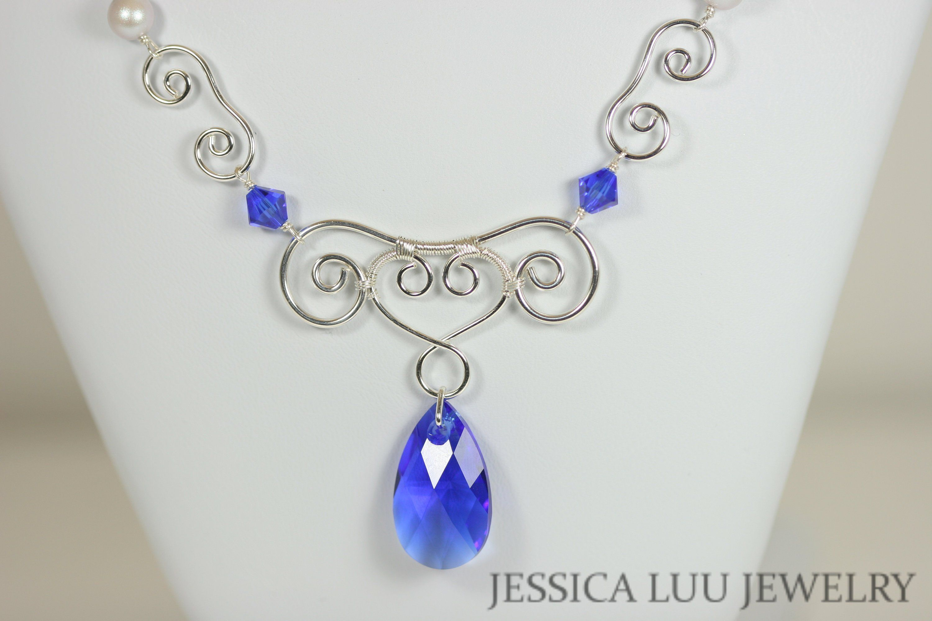 740453ad3 Sterling Silver Cobalt Blue Necklace with Majestic Blue Swarovski Crystal  Pendant and Iridescent Dove Grey Swarovski Pearls Handmade