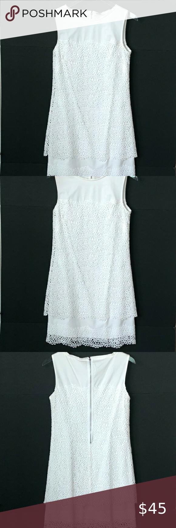 Elie Tahari White Cotton Lace Sleeveless Dress Elie Tahari Cotton Lace White Dress Summer [ 1740 x 580 Pixel ]