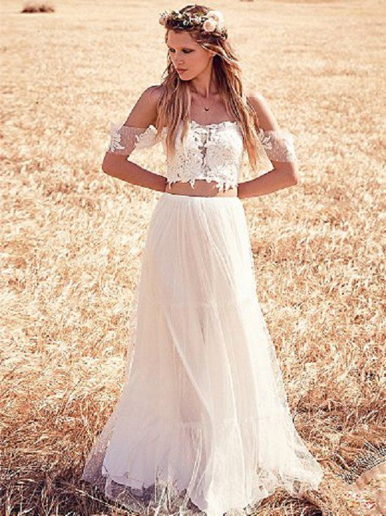 49ffa849a9 off shoulder two piece boho wedding gown / http://www.deerpearlflowers.