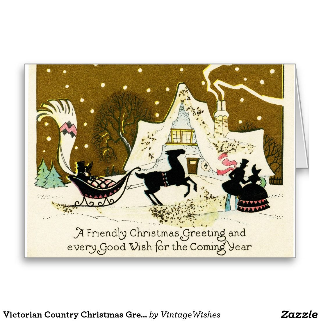 Victorian Country Christmas Greeting Card | Vintage Christmas Wishes ...