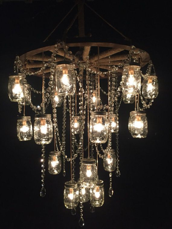 Wagon Wheel Mason Jar Chandelier 30 Quot Mason Jar