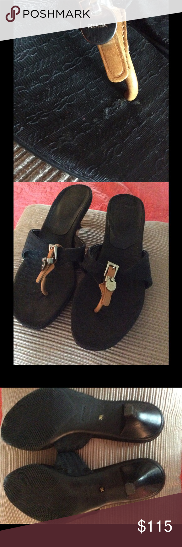 """The kittens are back... PRADA Women's Black Signature Jacquard Sandals Slides Shoes Size 38.5/8-8.5 Beautiful leather trim at thong and that famous Prada name on a silver disc.  Heel 2.5"""".  Excellent pre-owned condition.  No box or dustbag. Prada Shoes Sandals"""