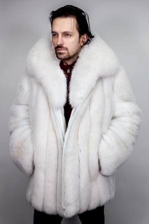 Mens Blue Fox Fur Bomber Jacket 5533 Image | Men&39s Fur Coats