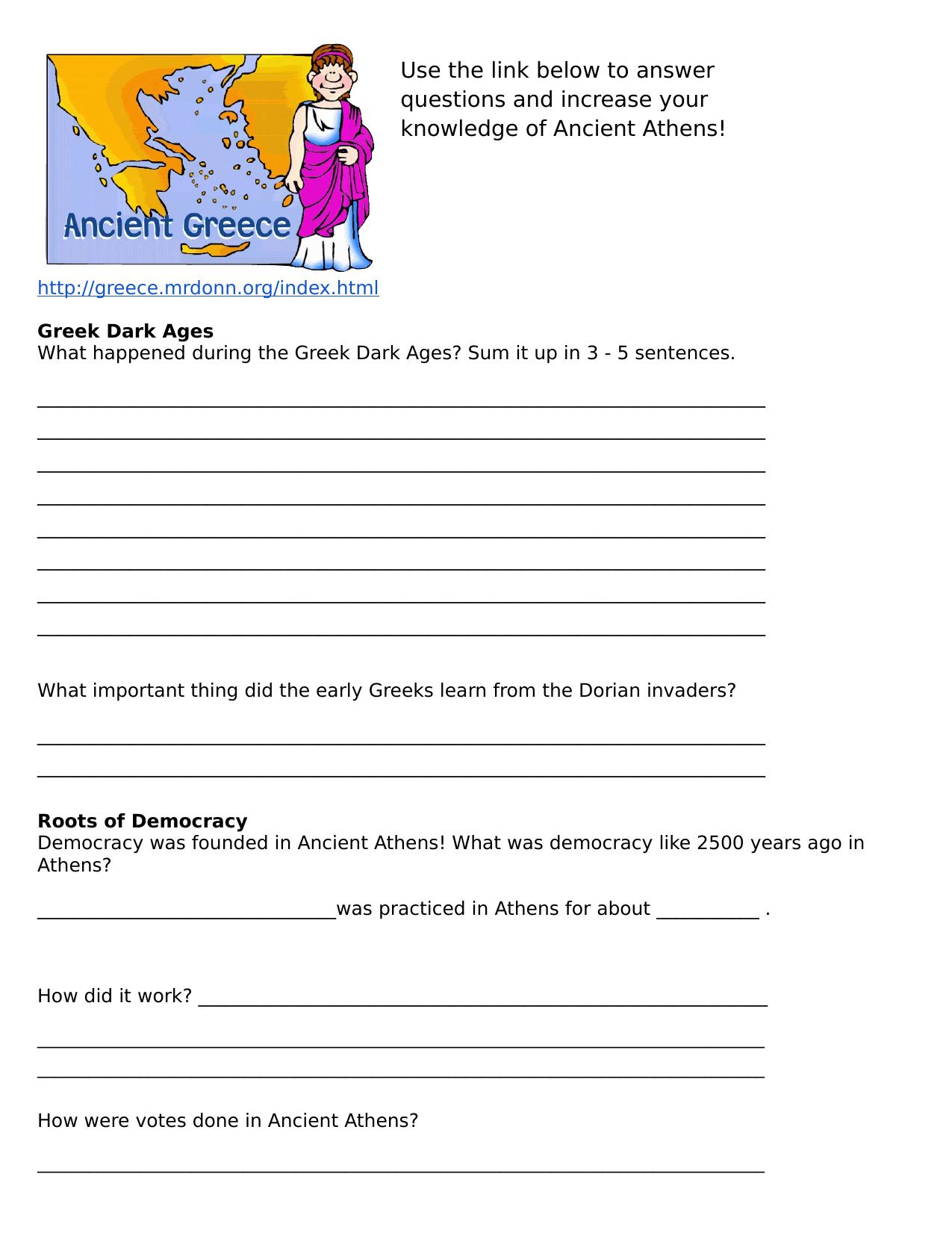 Ancient Athens Webquest Resource Preview