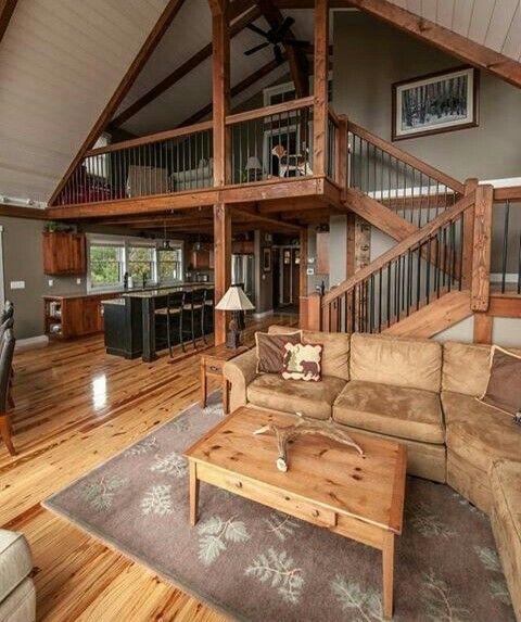 Lighter floors, painted island, wood cabinets? Rustic Living