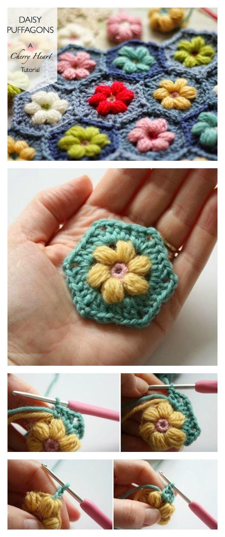 Crochet Daisy Puffagon Free Pattern   Häkeln, Handarbeiten und Stricken