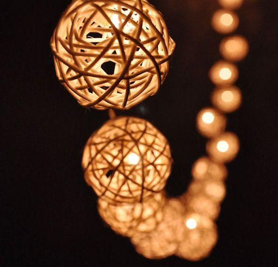 20 Bulbs Handmade fairy lights Classic White Rattan ball string - Luces De Navidad