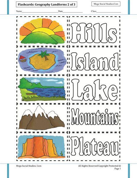 Landforms Flashcards 2 Homeschooling Earth Science Ingles Ni 241 Os Y Educacion