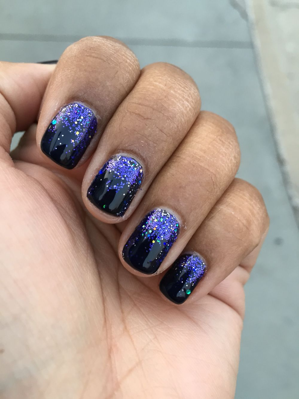 My nails, loose glitter with gel manicure   Nails   Pinterest ...