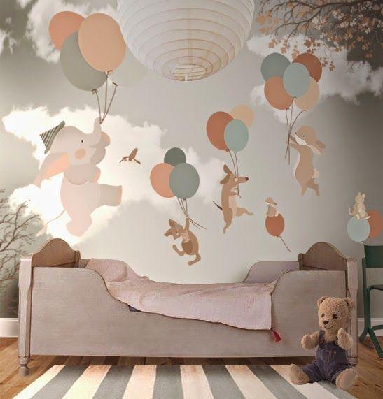 Animais voando em balões é o tema deste papel de parede.   Fonte…
