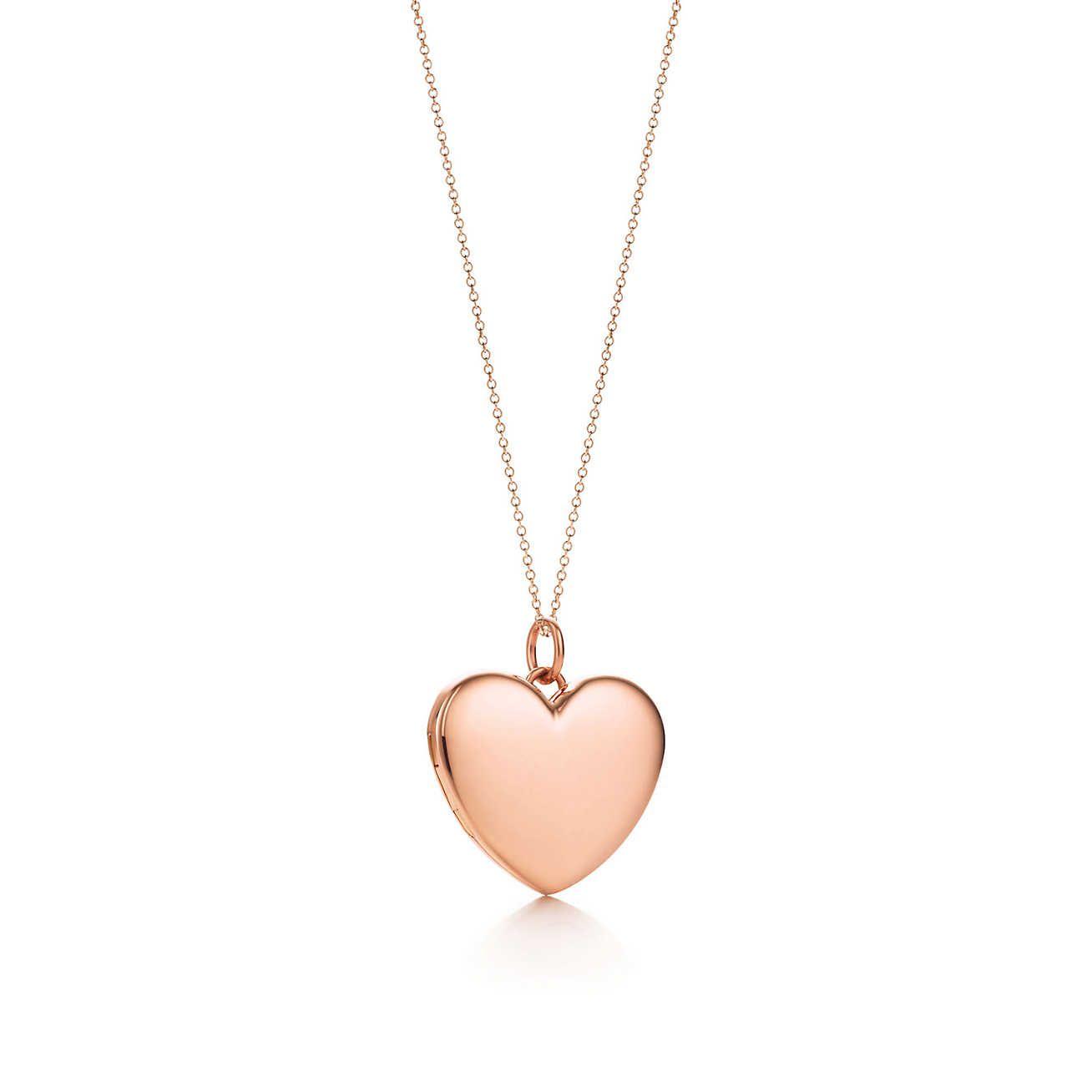 Pendente relicário em forma de coração em ouro rosa 18k, grande.   Tiffany    Co. c8f3efe561